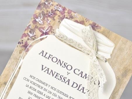 Invitación de boda rustica vintage barata 39319