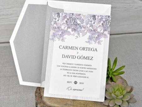 Invitación de boda clasica barata con flores  39320