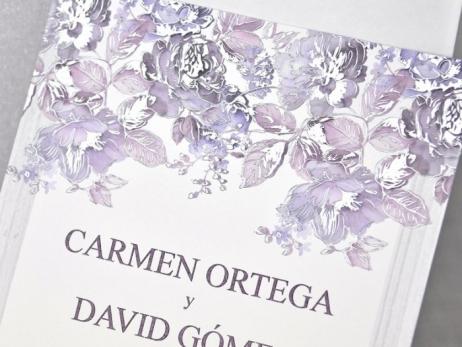 Invitación de boda - CLASICA CON FLORES  sin forro en sobre  (C32039)