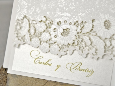 Invitación de boda - CORTE LASER FLORES   (C32139)
