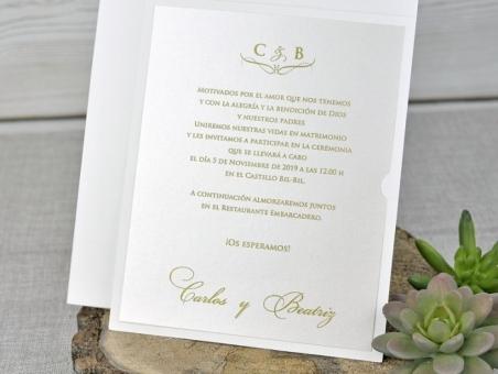 Invitación de boda elegante CORTE LASER 39321