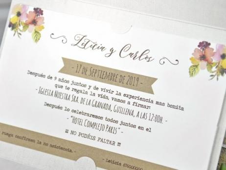 Invitación de boda - NOVIOS KRAFT   (C32239)