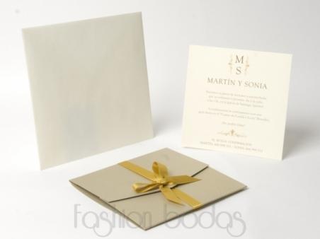 Invitación de boda clasica  CARTA DORADA