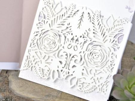 Invitación de boda elegante sencilla CORTE LASER 393281