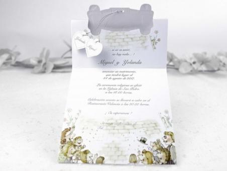 Invitación de boda barata viaje en coche 31509