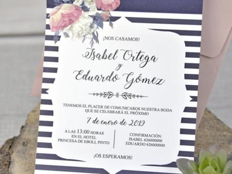 Invitación de boda original 39336  estilo vintage, barata, economica