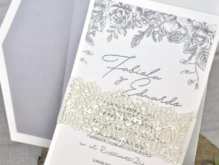 Invitación de boda elegante sencilla clasica corte laser 39337