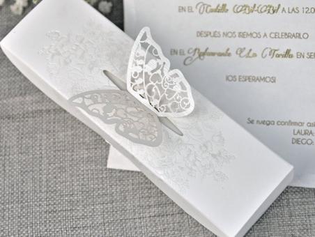 Invitación de boda original elegante  CAJA MARIPOSA 39338