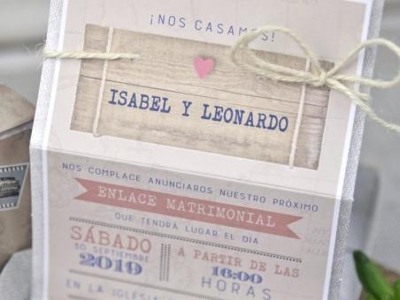Invitación de boda MALETA viaje VINTAGE 39339 barata, viajera
