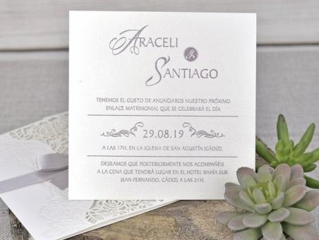 Invitación de boda elegante sencilla original CORTE LASER 39340