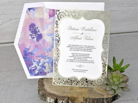Invitación de boda - CORTE LASER sin forro en sobre   (C34139)