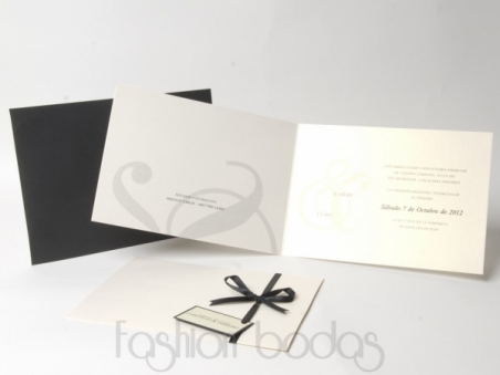 Invitación de boda clasica perlada ELEGANT NACARADO