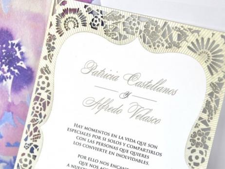 Invitación de boda - CORTE LASER con forro en sobre  (C34139)