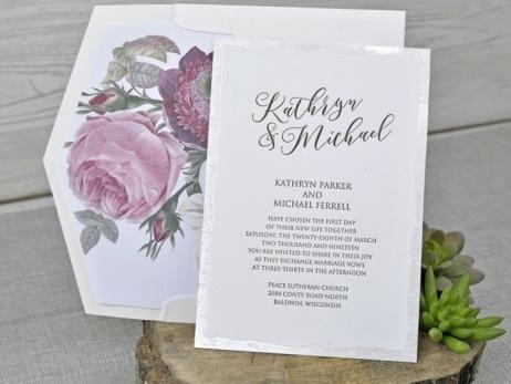 Invitación de boda - CLASICA ACUARELA con forro en sobre  (C343-P2639)