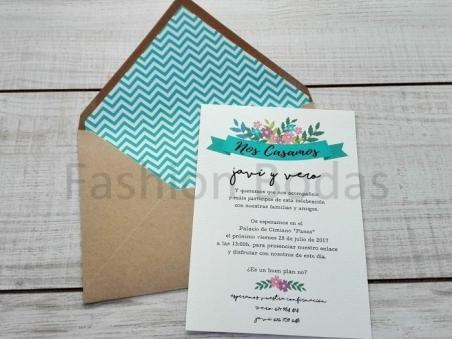 Invitación de boda CARTEL FLORAL CON FORRO CHEVRON agua marina
