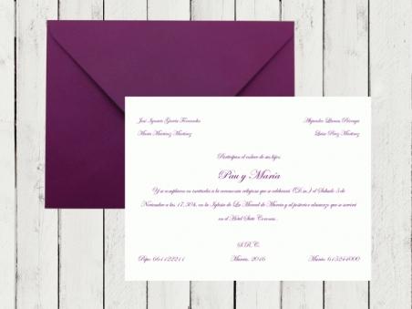 Inviaciones de boda clasicas sencillas tradicionales tarjeton con sobre morado