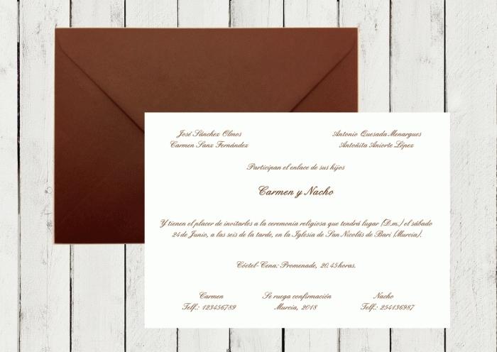 Invitación de boda - CLÁSICA MARRON CHOCOLATE