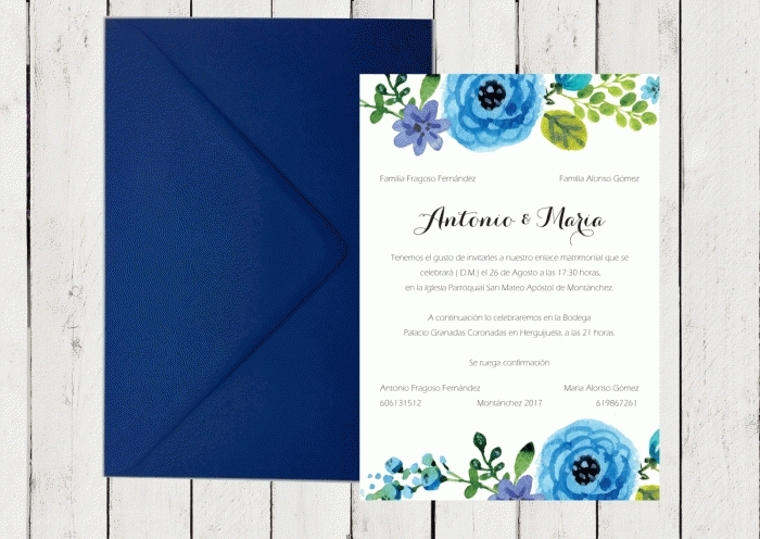 Invitación de boda - CON FLORES AZULES 2