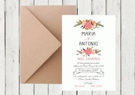 .Invitación de boda - FLORAL CARD