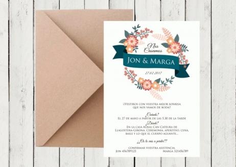 Invitación de boda - CORONA FLORAL 3