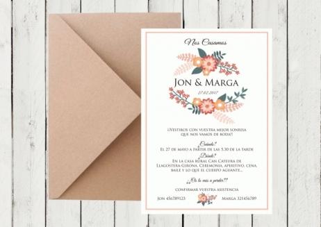 Invitación de boda - CORONA FLORAL 4