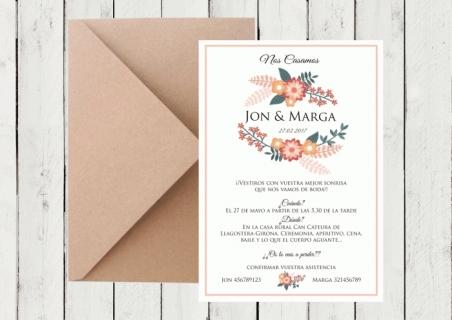 .Invitación de boda - CORONA FLORAL 4