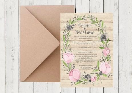 Invitación de boda - CORONA FLORES MADERA