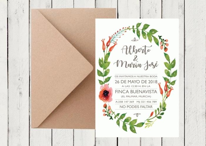 Invitación de boda - CORONA FLORAL 5