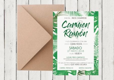 Invitaciones de boda tropicales con hojas verdes  BOTANICA 2
