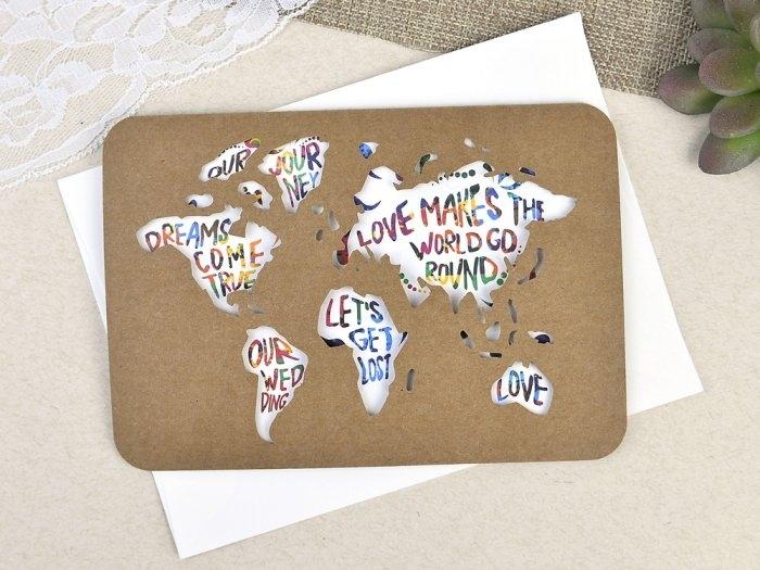 Invitación de boda - PASAPORTE MAPA MUNDI   (C60239)