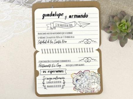 Invitación de boda  PASAPORTE viaje MAPA MUNDI 39602