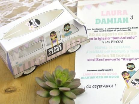 Invitación de boda - FURGONETA VINTAGE   (C60339)