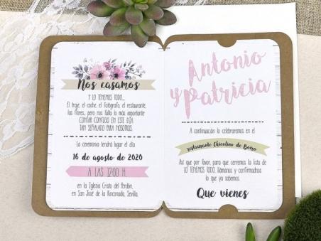 Invitación de boda ROMÁNTICA FLORES 39606