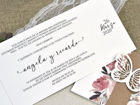 Invitación de boda barata MARIPOSA Y FLORES ACUARELA 39611