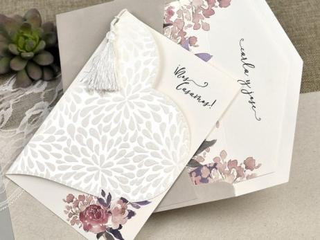 Invitación de boda - FLORES ACUARELA   (C61239)