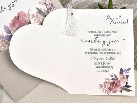 Invitación de boda con FLORES ACUARELA 39612