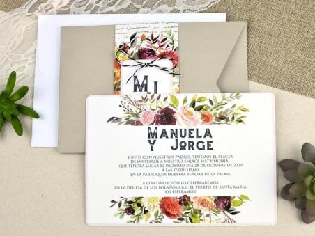 Invitación de boda kraft rustica CON FLORES 39614