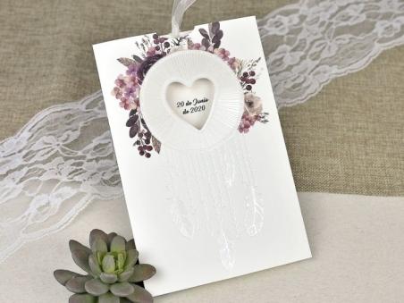 Invitación de boda CON FLORES ACUARELA 39615