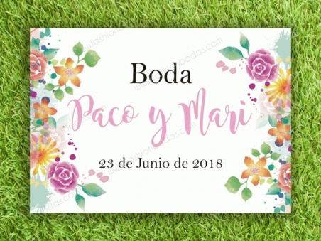 Cartel AQUÍ ESTA EL AMOR DE TU VIDA para boda con flores