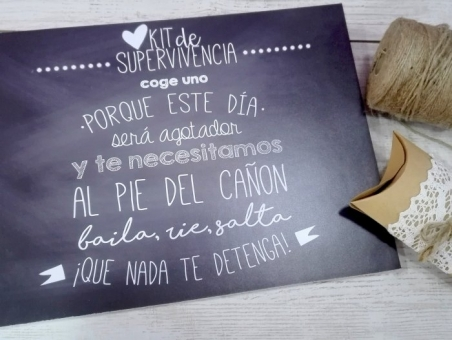 Cartel KIT SUPERVIVENCIA pizarra para boda