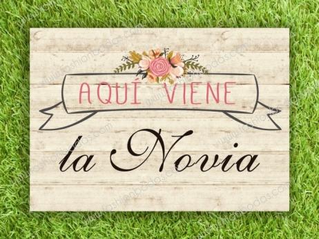 Cartel para boda - AQUI VIENE LA NOVIA (coleccion Floral Card)