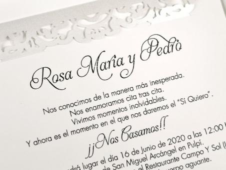 Invitación de boda elegante sencilla RAMAS CORTE LASER 39617