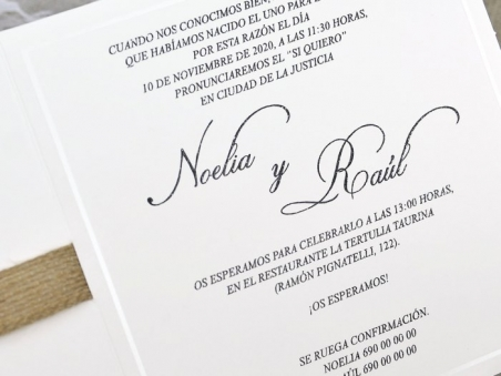 Invitación de boda rustica CON FLORES 39622