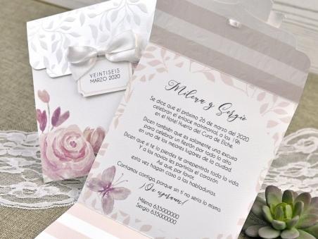 Invitación de boda vintage ROMANTICA CON FLORES 39623