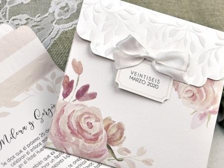 Invitación de boda rustica ROMANTICA CON FLORES 39623