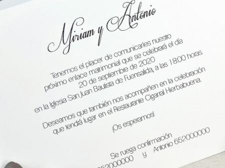 Invitación de boda cortada a laser PAREJA 39625