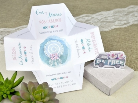 Invitación de boda CAJA FURGONETA 39628