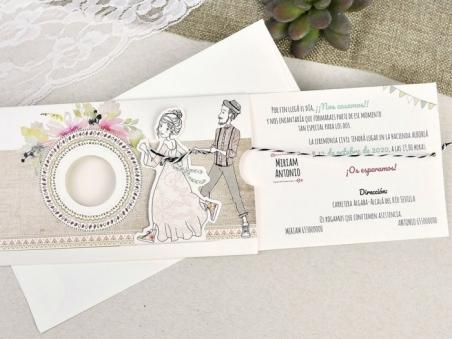 Invitación de boda informal NOVIOS VINTAGE 39634