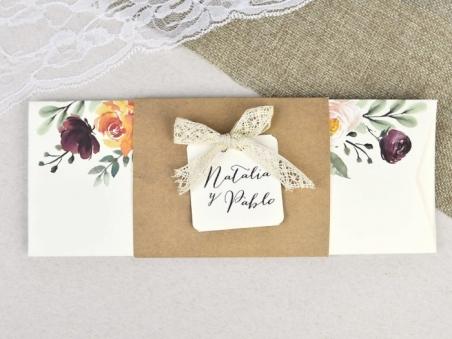 Invitación de boda KRAFT FLORAL 39637
