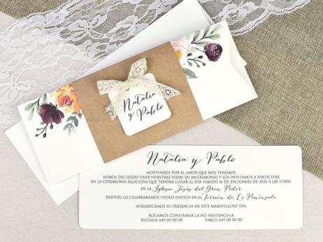Invitación de boda - KRAFT FLORAL   (C63739)